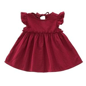 NEW Boutique Burgundy Flutter Sleeve Fall Dress
